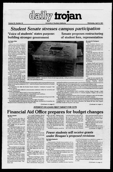 Daily Trojan, Vol. 90, No. 43, April 08, 1981