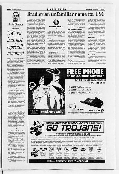 Daily Trojan, Vol. 141, No. 57, November 17, 2000