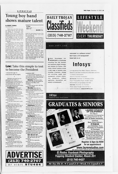 Daily Trojan, Vol. 141, No. 52, November 10, 2000