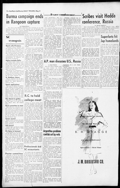 Daily Trojan, Vol. 36, No. 115, May 04, 1945