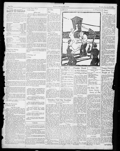 Daily Trojan, Vol. 26, No. 5, September 27, 1934