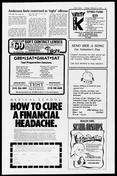 Daily Trojan, Vol. 90, No. 5, February 10, 1981