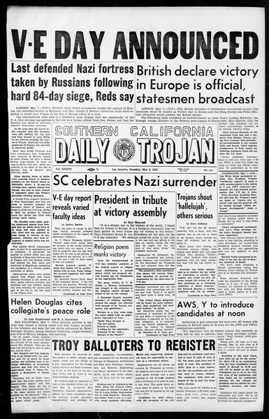 Daily Trojan, Vol. 36, No. 117, May 08, 1945