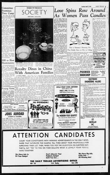 Daily Trojan, Vol. 55, No. 92, April 07, 1964