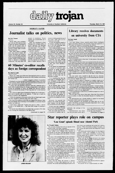 Daily Trojan, Vol. 90, No. 30, March 19, 1981