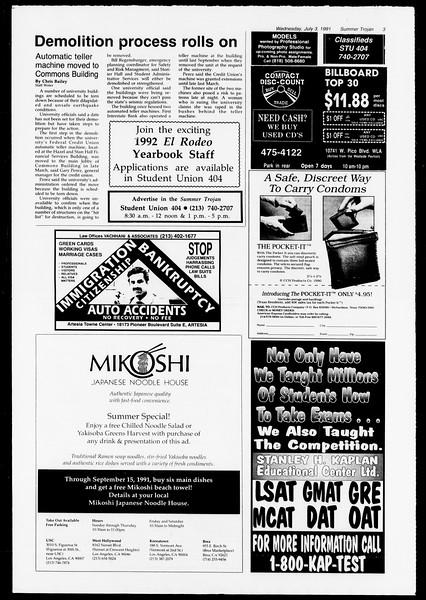 Summer Trojan, Vol. 115, No. 8, July 03, 1991