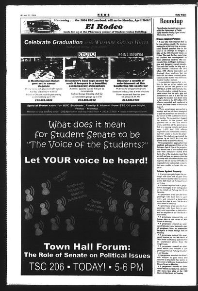 Daily Trojan, Vol. 151, No. 62, April 22, 2004