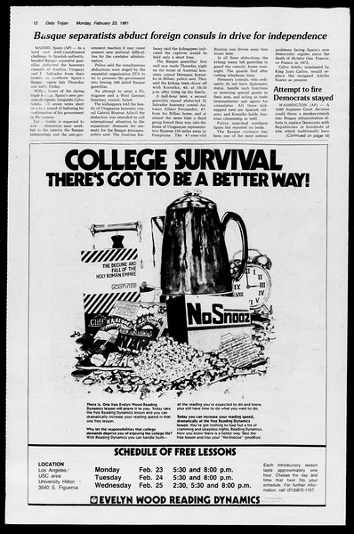 Daily Trojan, Vol. 90, No. 13, February 23, 1981
