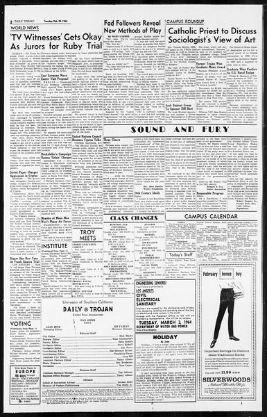 Daily Trojan, Vol. 55, No. 69, February 25, 1964