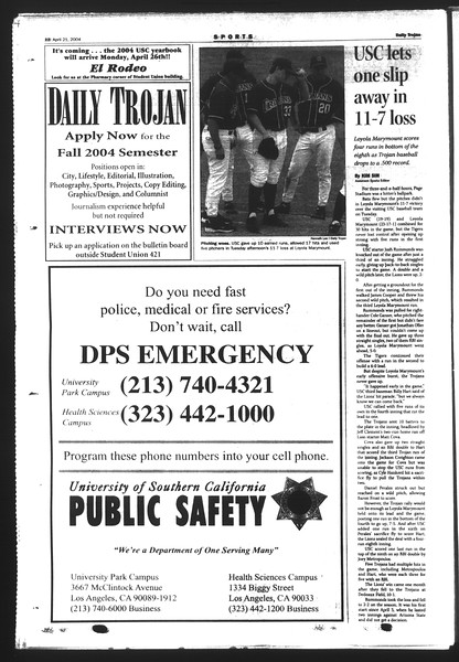 Daily Trojan, Vol. 151, No. 61, April 21, 2004