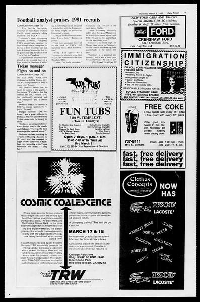 Daily Trojan, Vol. 90, No. 20, March 05, 1981