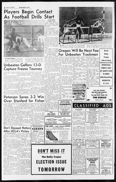 Daily Trojan, Vol. 55, No. 97, April 14, 1964