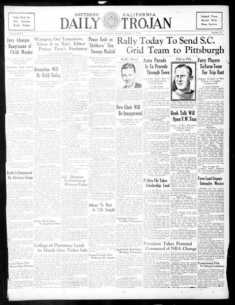 Daily Trojan, Vol. 26, No. 13, October 09, 1934
