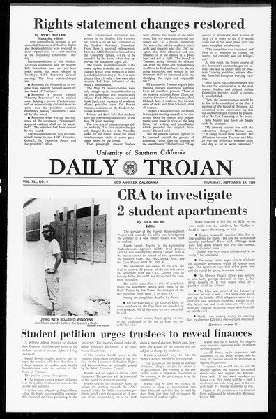 Daily Trojan, Vol. 61, No. 9, September 25, 1969