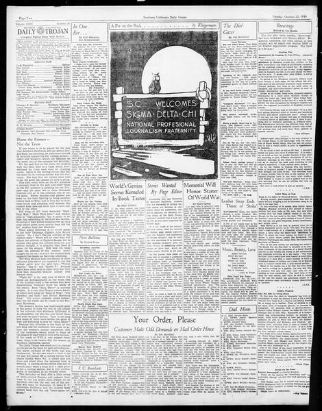 Daily Trojan, Vol. 26, No. 23, October 23, 1934