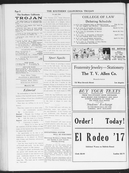 The Southern California Trojan, Vol. 7, No. 82, March 08, 1916