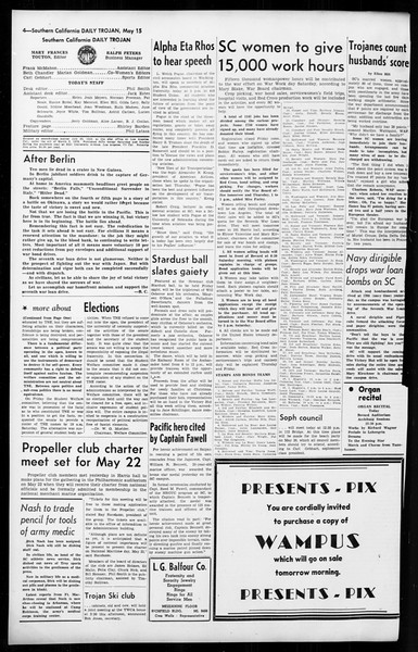 Daily Trojan, Vol. 36, No. 122, May 15, 1945