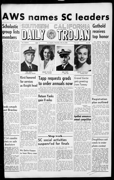 Daily Trojan, Vol. 36, No. 69, February 15, 1945