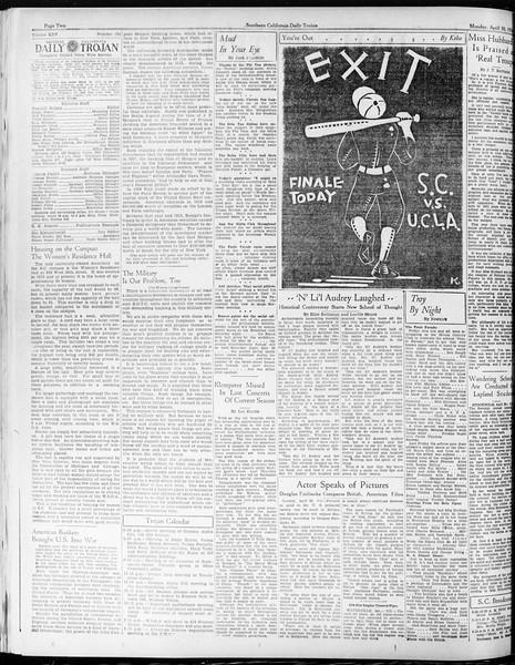 Daily Trojan, Vol. 25, No. 124, April 30, 1934