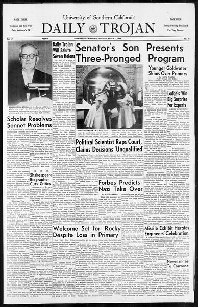 Daily Trojan, Vol. 55, No. 81, March 12, 1964