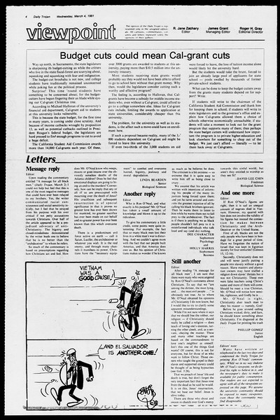 Daily Trojan, Vol. 90, No. 20, March 04, 1981