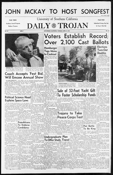 Daily Trojan, Vol. 55, No. 99, April 16, 1964