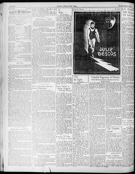 Daily Trojan, Vol. 25, No. 89, March 05, 1934