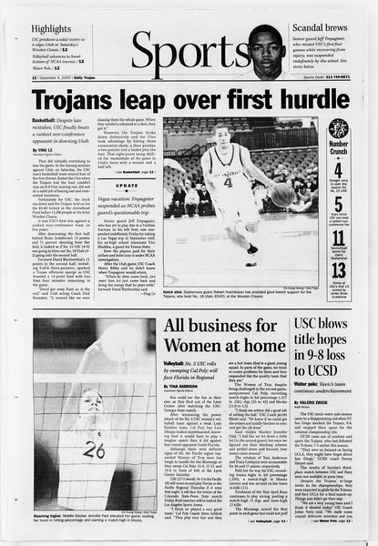 Daily Trojan, Vol. 141, No. 64, December 04, 2000
