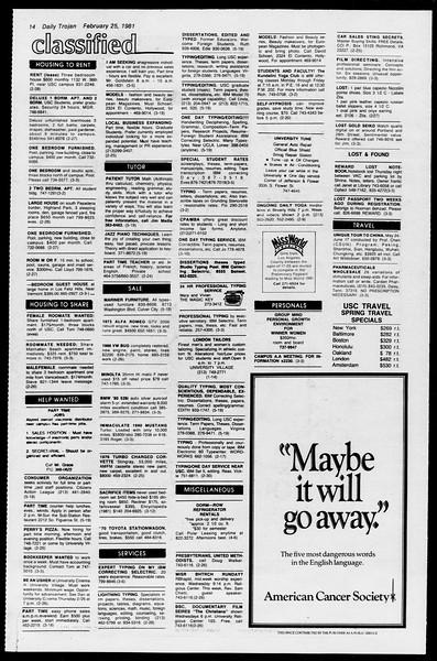 Daily Trojan, Vol. 90, No. 15, February 25, 1981