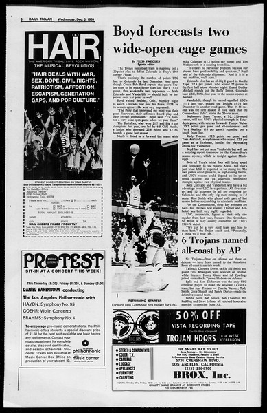Daily Trojan, Vol. 61, No. 53, December 03, 1969