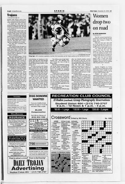 Daily Trojan, Vol. 141, No. 58, November 20, 2000