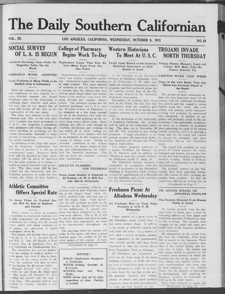 The Daily Southern Californian, Vol. 3, No. 16, October 08, 1913