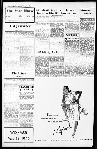 Daily Trojan, Vol. 36, No. 112, May 01, 1945