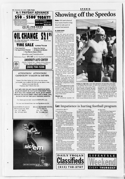 Daily Trojan, Vol. 141, No. 62, November 30, 2000