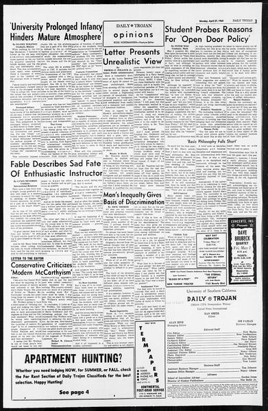 Daily Trojan, Vol. 55, No. 106, April 27, 1964
