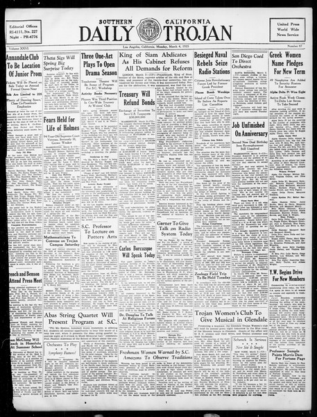 Daily Trojan, Vol. 26, No. 87, March 04, 1935