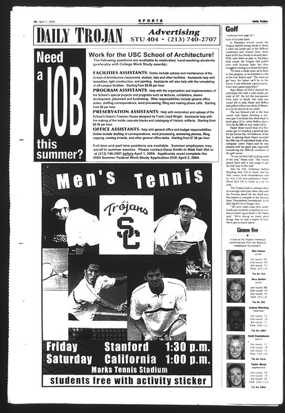 Daily Trojan, Vol. 151, No. 47, April 01, 2004