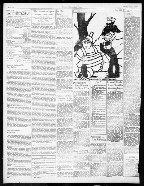 Daily Trojan, Vol. 26, No. 12, October 08, 1934