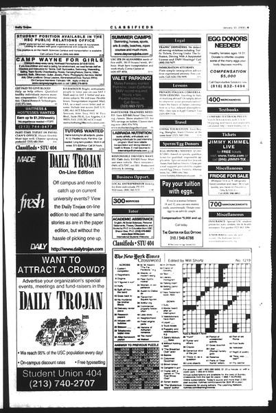 Daily Trojan, Vol. 151, No. 12, January 30, 2004