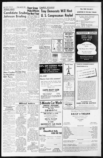 Daily Trojan, Vol. 55, No. 105, April 24, 1964