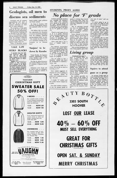 Daily Trojan, Vol. 61, No. 60, December 12, 1969