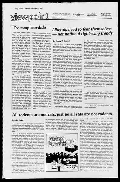 Daily Trojan, Vol. 90, No. 13, February 23, 1981