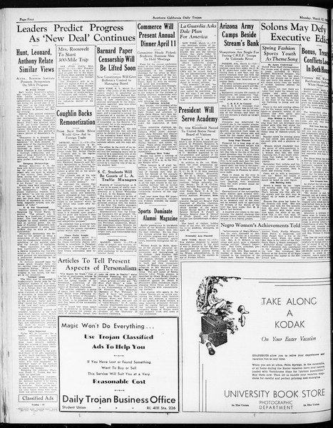 Daily Trojan, Vol. 25, No. 94, March 12, 1934