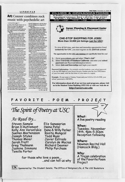 Daily Trojan, Vol. 141, No. 53, November 13, 2000