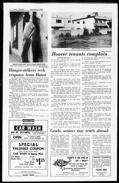 Daily Trojan, Vol. 61, No. 9, September 25, 1969
