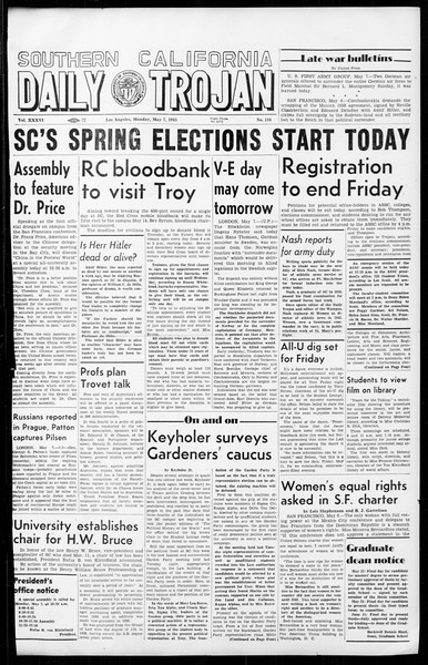 Daily Trojan, Vol. 36, No. 116, May 07, 1945