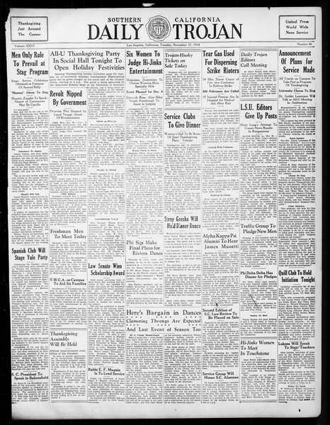 Daily Trojan, Vol. 26, No. 46, November 27, 1934