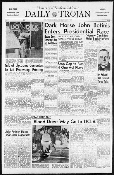 Daily Trojan, Vol. 55, No. 75, March 04, 1964