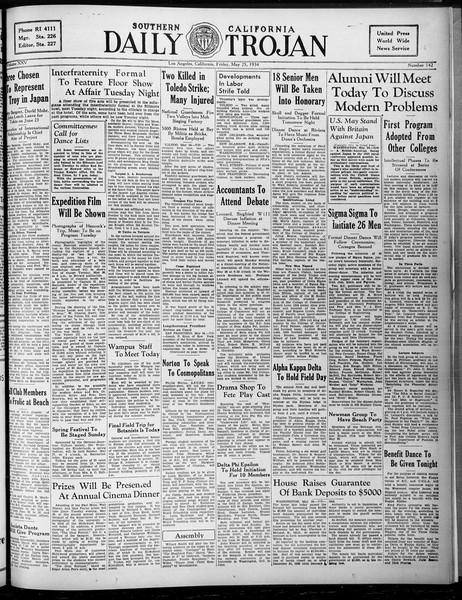 Daily Trojan, Vol. 25, No. 143, May 25, 1934