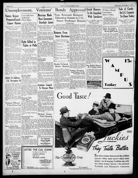 Daily Trojan, Vol. 26, No. 33, November 07, 1934